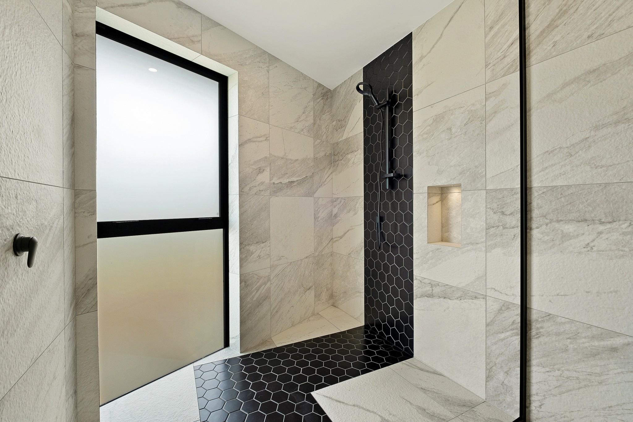 Designer main bathroom shower at 58 Forest Heights